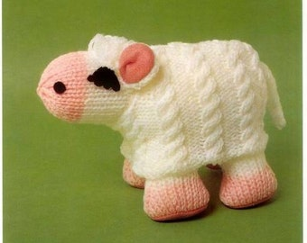 Vintage Knit Lucky Sheep Toy knitting pattern instant download pdf pattern