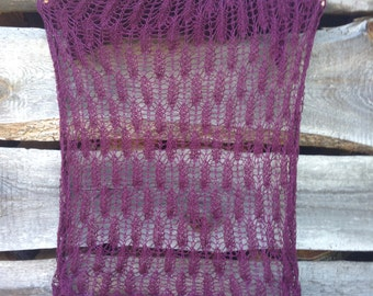 Lace cotton scarf, hand knitted lace scarf, summer scarf, aubergine lace, eggplant scarf, gift for woman
