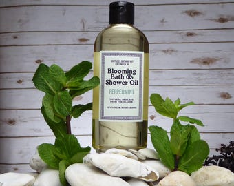 Mint Bath Oil and Shower Oil // Blooming Bath Oil, Blooming Shower Oil, Natural Oil, Aromatherapy, Skincare, Bathing