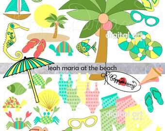 Leah Maria at the Beach Elements: Clip Art Pack (300 dpi) Digital Images (png format, transparent background) Card Making Digital Scrapbook
