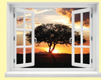Window with a View Serengeti Sunset Wall Mural