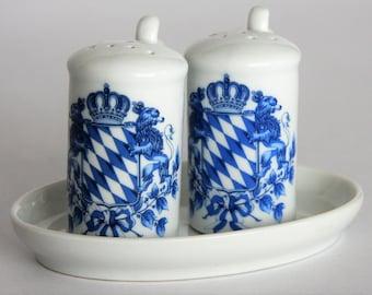 Vintage German Souvenir Krug Salt and Pepper Shakers with Plate