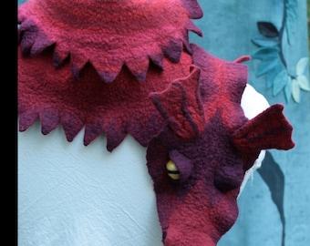 Dragon Scarf - Red Dragon Scarf - Felted Wool Dragon - Red Dragon - Red - Wool Scarf