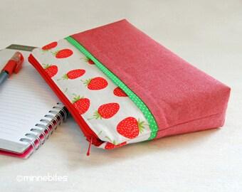 Bracelet fraise - organisateur de poche pour son cadeau - petit sac à main - voyage maquillage sac - pochette d'aumônière de fruits rouges - jardinier - prêt à l'expédition