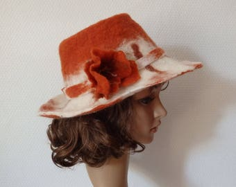 Wool felted by hand shaped cowboy hat
