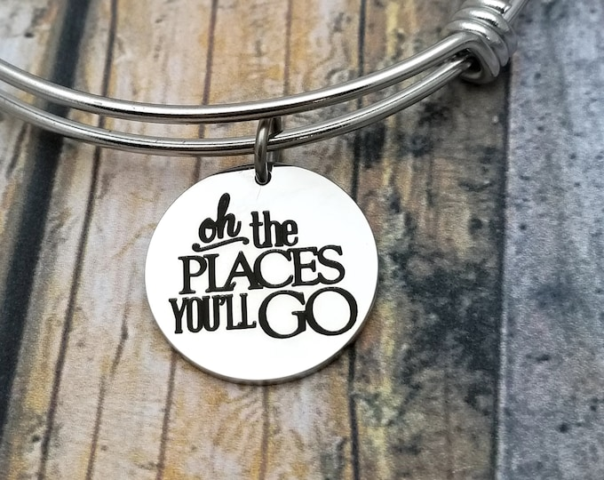 Oh the places you will go Customizable Expandable Bangle Charm Bracelet, graduation, new job, marriage, relocation, new baby, engagement