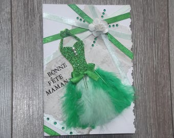 "Map theme mothers collection party dress""feathers"": green dress"