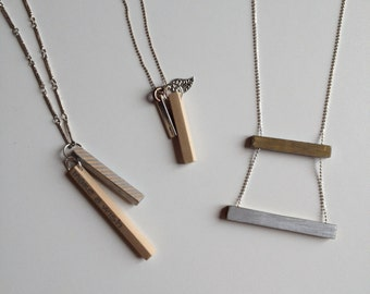 Wooden and silver necklace Make a wish in ready sale