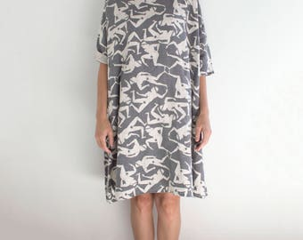 Grey Man Dance Print Linen Dress