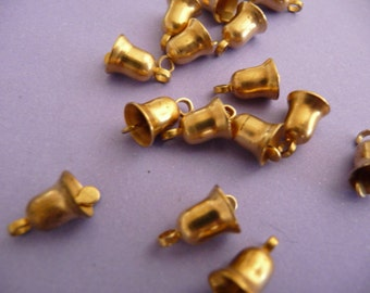 12 Small Brass Bells - Vintage Mechanical Charms - Raw Brass