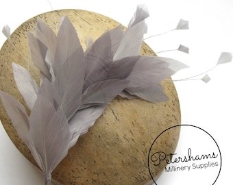 Stripped Diamond Coque & Goose Feather Wired Millinery Hat Mount - Pewter Grey
