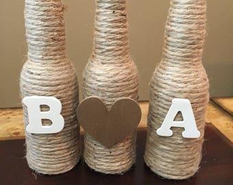 3-Piece, Initial vases, Rustic wedding decor, rustic home decor, Farm Decor, Shabby-chic, glass vases, personalized decor, wedding decor