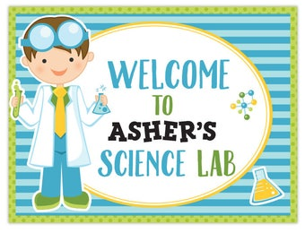 Personalized Boy Scientist Party Printable Welcome Sign, Science Lab Custom Welcome Sign, Science Party, Welcome Sign