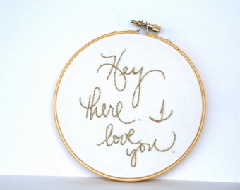 Gold hoop art / metallic embroidery / I love you / hand embroidered home decor / fresh spring light happy gift