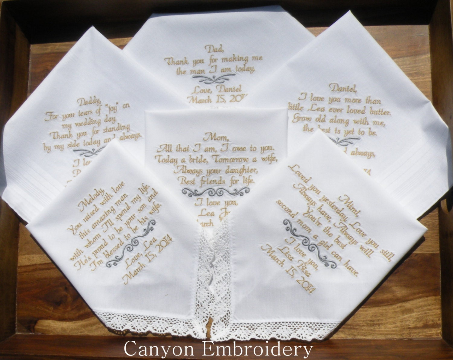 Embroidered Wedding Handkerchiefs Embroidered Wedding Gifts