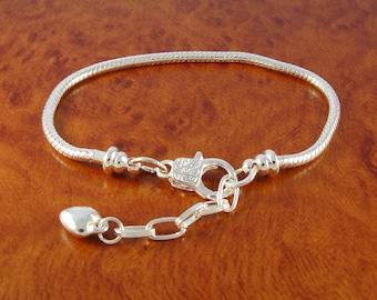 """European style charm bracelet / 7.5"""" snake chain bracelet for beads and sliding charms / heart charm bracelet"""