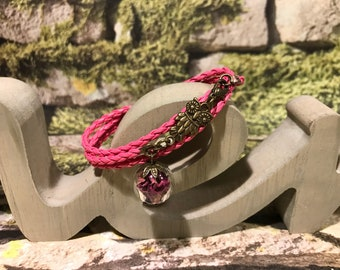 """Leather bracelet pink """"real puff Flowers"""""""