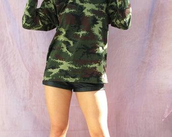 MILITARY HACKER HOODIE handmade streetwear M 10 12 14  Cyber goth vapor 90s camouflage army iridescent punk seapunk top sweater grunge cute