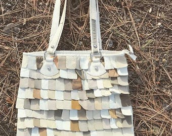 leather purse // ivory leather handbag // purse with leather detail // leather scales // layered leather texture bag // two handle purse