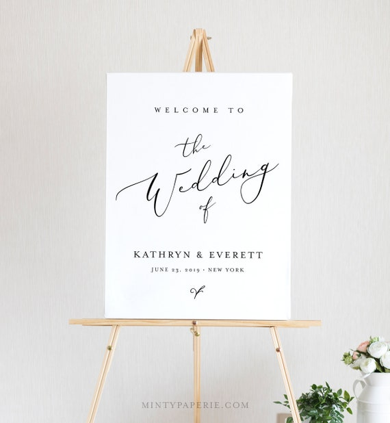 Wedding Welcome Sign Template, Instant Download, 100% Editable, Printable Minimalist Wedding Poster, Modern, Clean, Templett, DIY #045-123LS
