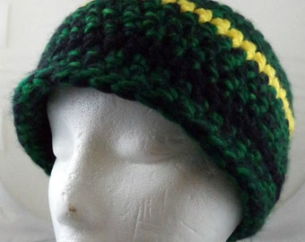 Green, Yellows, and Black Beanie (medium) (SWG-HBEN-M05)