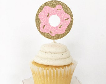Donut Cupcake Toppers / Birthday Party / Bridal Shower Brunch / Dessert Table Decor / Donut Toppers / Food Picks / Glitter Donut Toppers