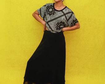Vintage Black Skirt with Slip Size 2 Petite
