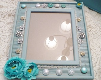 OOAK Vintage Aqua/Blue/Ivory/Rhinestone Earring/Button Embellished Picture Frame - 8x10  Picture - Distressed Finish-Faux pearl - WEDDING