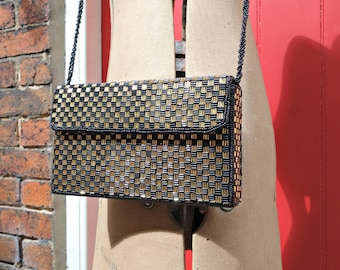 Checkerboard vintage purse | 1980s beaded purse | 80s bag | black and gold crossbody bag | box purse