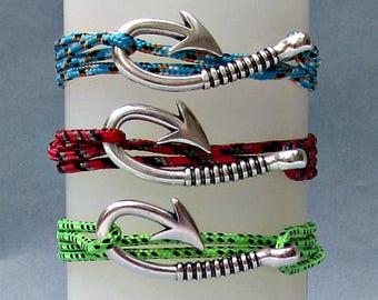 Fish Hook Bracelet Mens Nautical Rope Anchor wrap Bracelet Arrowhead Leather Bracelet Adjustable