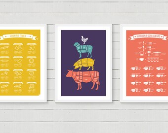 Any 3 Kitchen Prints - Foodie gift, Meat Cuts, Kitchen Conversions, Types of Knives, Cooking Times, 8x10 12x16 16x20 A4