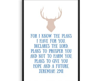 Poster Art Baby Shower Nursery Decor Framed Home Bible Verse Jeremiah 29 11 For I know the plans Rustic Farmhouse Antler Flower Feather Gift