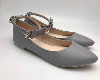 Women Slip On - Pointed Toe Flats! (Gray Color)