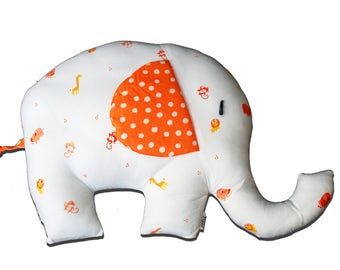 Elephant Pair - Orange & White