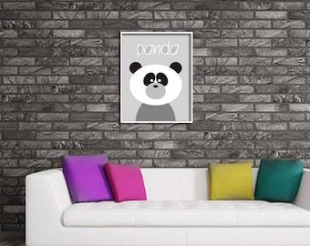 Nursery Print , Kids ,  jpg printable digital poster instant download , Panda  Nursery Art ,decoration, graphics, Nursery Decor, gray