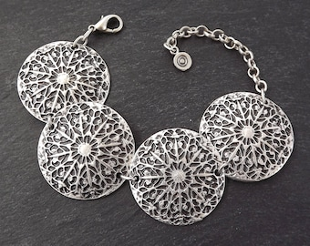 Rustic Mandala Disc Tribal Ethnic Silver Statement Bracelet - Authentic Turkish Style