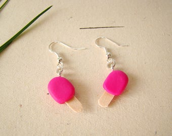 Raspberry Eskimo ice - earrings polymer clay fimo - polymer clay errings raspberry ice