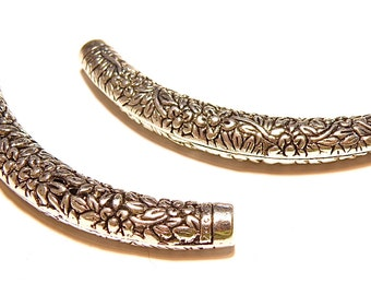 Two (2) Curved Floral Design Pewter Tubes