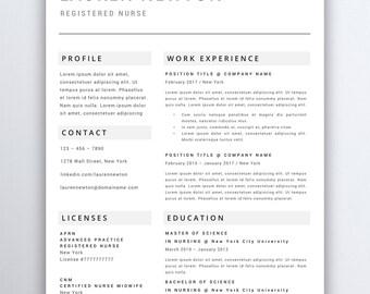 Nursing Resume Template 5 Pages | Nurse Resume Template   Registered Nurse    Nurse CV Template