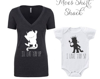 New Mom Gift. Mommy and Me Shirt Set. Mommy and Me Outfits. Where The WIld Things Are. Where-The-Wild-Things-Are. Mommy and Me Bracelet.