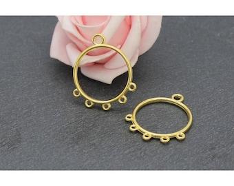 10 connectors x 30 x 25 mm COD05 goldtone circle