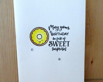 Handmade Birthday Card/ Donut/Doughnut birthday card/cleanand simple style greeting card