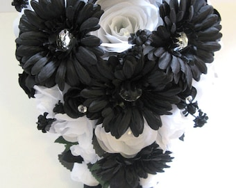 Etsy your place to buy and sell all things handmade 17 piece wedding silk flower bouquet bridal black daisy white silver package flowers bouquets arrangements centerpieces mightylinksfo