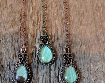 Aqua Swallowtail ~ Tiny Teardrop ~ Mint/Aqua Green butterfly Wing in a Vintage Necklace