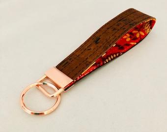 Brown Cork Key Fob, Key Ring, Key Chain, Keyring, Rose Gold Key Fob, Cork Key Chain, Cork Key Ring, Rose Gold Key Chain, Vegan Key Chain