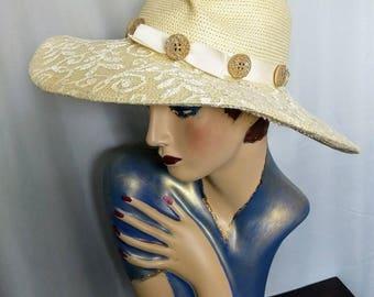 VTG  Whittall & Shon Hat/Large Brim Spring Hat/Cream Straw Hat/Spring Straw Hat/ Summer Light Cream Hat/Designer Womens Straw Hat/No.363