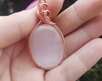 Selenite Pendant wrapped in Bare Copper Wire!
