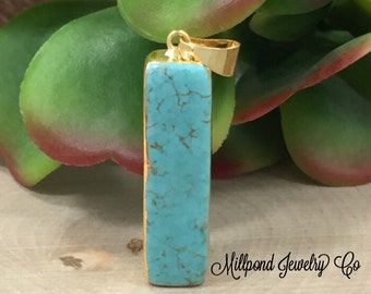 Turquoise Pendant, Turquoise Howlite Pendant, Necklace Pendant, 24K Gold Plated, P1112