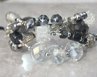 Silver and crystal bracelet