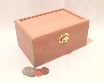 Unfinished Wood Box with Hinges & Latch-6 x 4 x 3-unfinished wood box-ready to finish-engravable wood box-personalized laser engraving